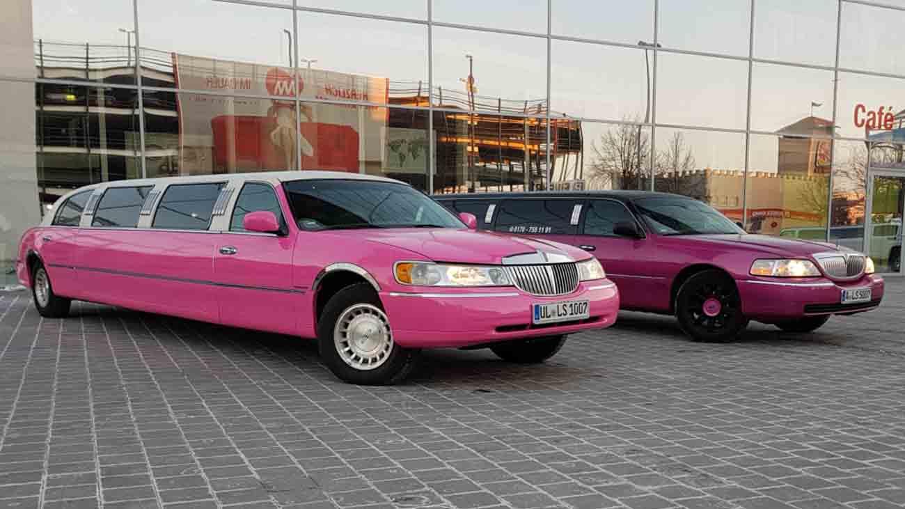 2 lincoln super stretch limousine in pink limousinen. Black Bedroom Furniture Sets. Home Design Ideas